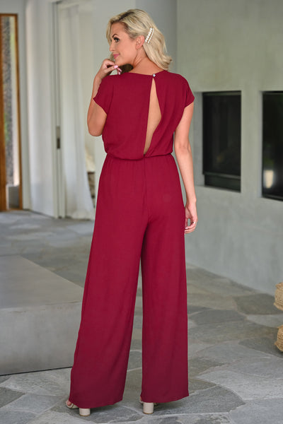 After Sunset Jumpsuit - Wine womens trendy tie front short sleeve long jumper closet candy back