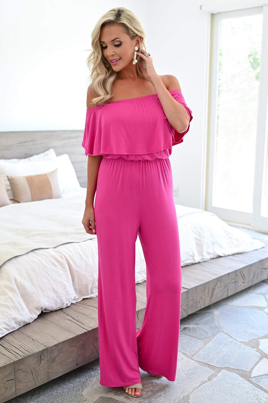 Here For The Party Jumpsuit - Hot Pink womens trendy off the should ruffle detail jumpsuit closet candy front