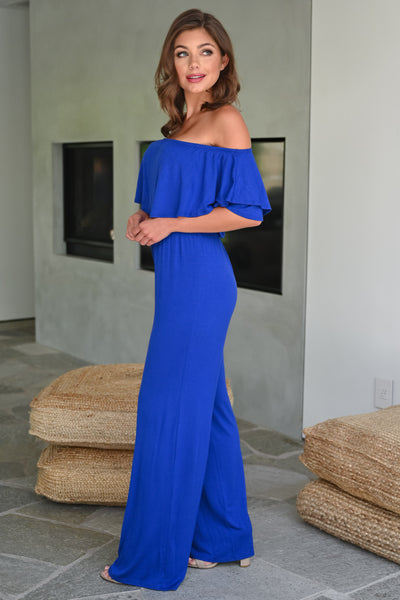 Here For The Party Jumpsuit - Royal Blue womens trendy off the shoulder ruffle detail jumper closet candy side; Model: Hannah Sluss