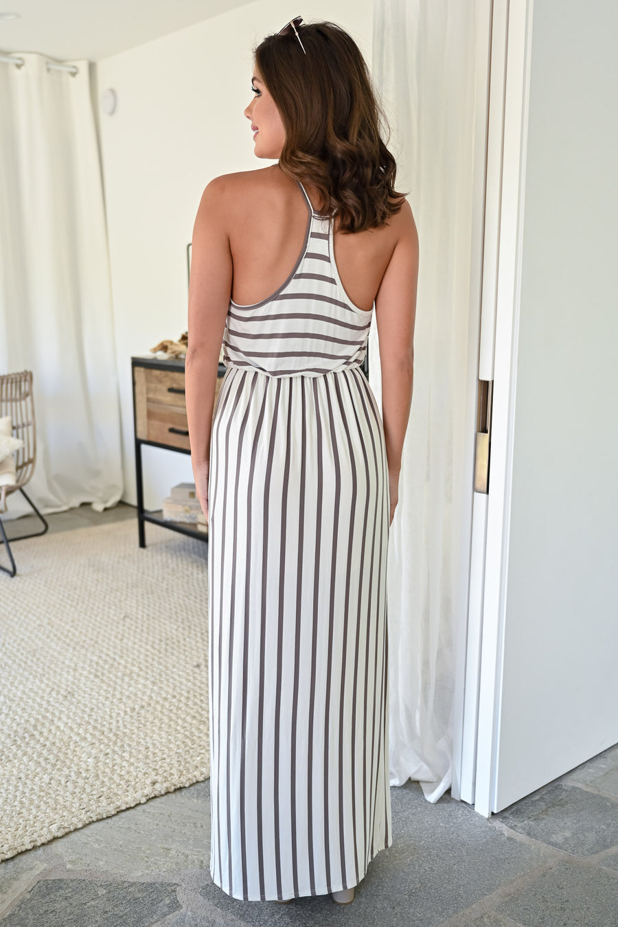 Moving On Up Maxi Dress - Ivory womens casual striped scoop neck long dress closet candy  front 2; Model: Hannah Sluss