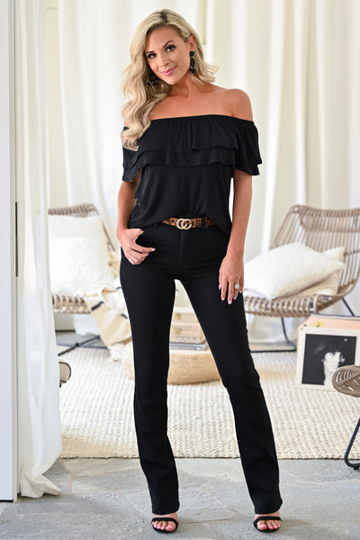 Make It Great Top - Black womens trendy off the shoulder ruffle detail short sleeve top closet candy front 2