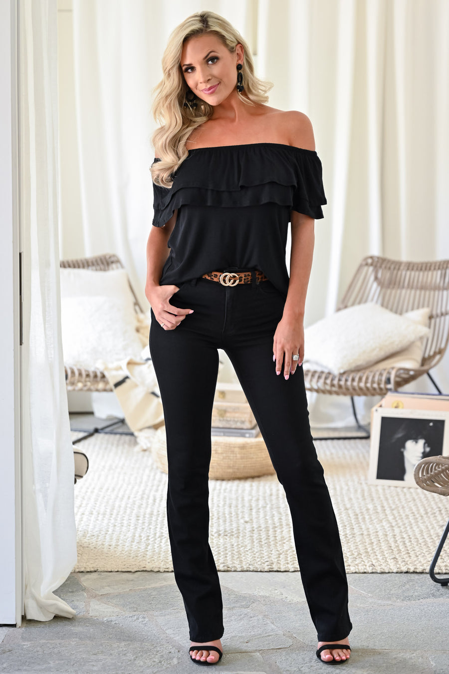 Make It Great Top - Black womens trendy off the shoulder ruffle detail short sleeve top closet candy front