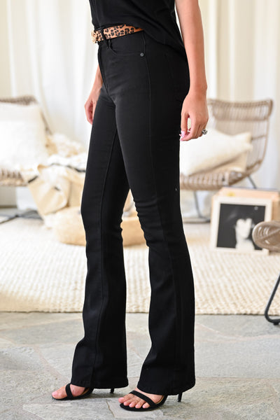 KAN CAN Stella Boot Cut Jeans - Black womens trendy flare high waisted black jeans closet candy side