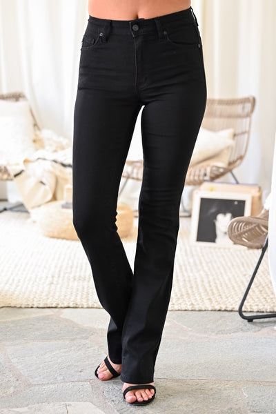 KAN CAN Stella Boot Cut Jeans - Black womens trendy flare high waisted black jeans closet candy close 2