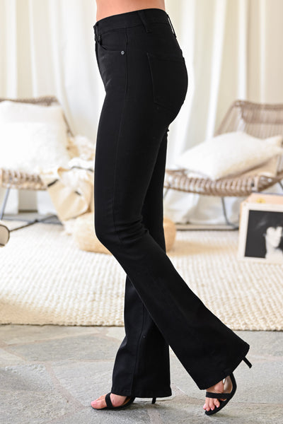KAN CAN Stella Boot Cut Jeans - Black womens trendy flare high waisted black jeans closet candy side 2