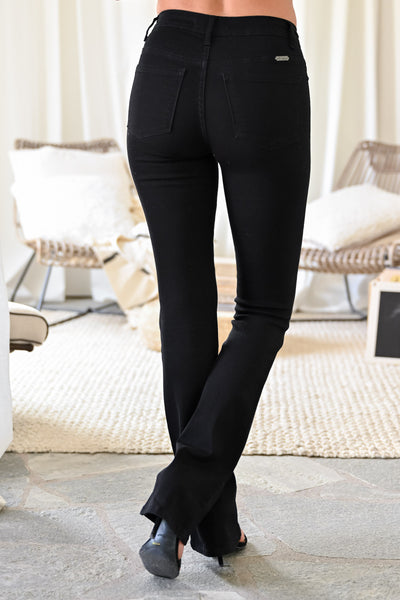 KAN CAN Stella Boot Cut Jeans - Black womens trendy flare high waisted black jeans closet candy back