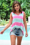 Endless Summer Tie Dye Tank - Fuchsia & Mint womens casual sleeveless color block v-neck tank closet candy front