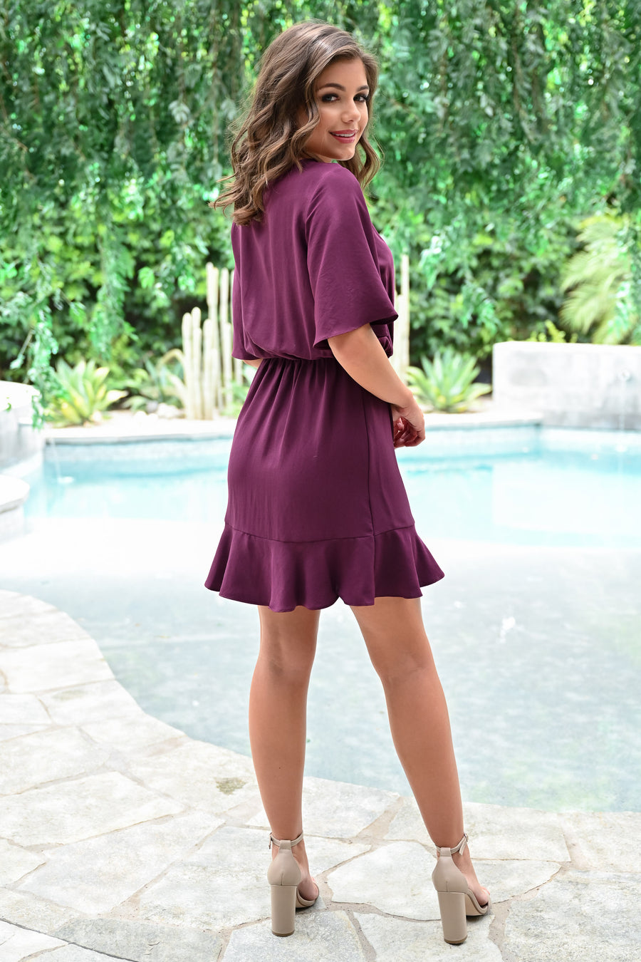 Pour The Merlot Dress - Wine womens trendy flutter sleeve wrap ruched waist dress closet candy front