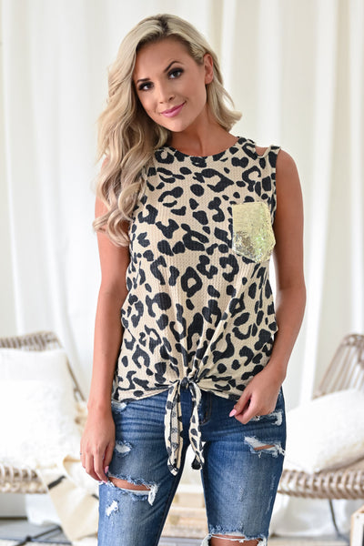 Night Out Top - Leopard womens trendy sequin pocket tie front leopard tank closet candy front