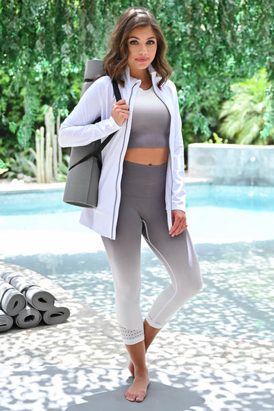 Bust a Move Athletic Jacket - White womens casual zip up long sleeve workout jacket closet candy front 2