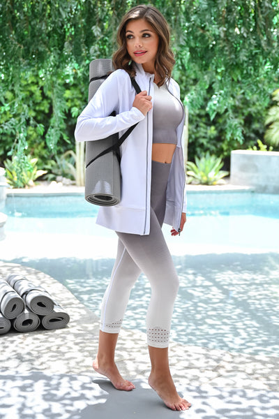 Bust a Move Athletic Jacket - White womens casual zip up long sleeve workout jacket closet candy side; Model: Hannah Sluss