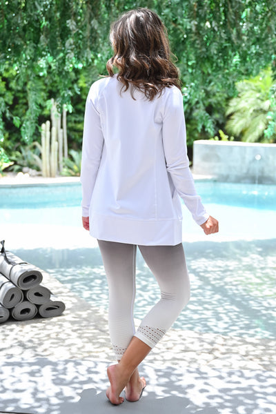 Bust a Move Athletic Jacket - White womens casual zip up long sleeve workout jacket closet candy back; Model: Hannah Sluss