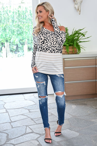 Not Even Trying Top - Leopard womens casual off the shoulder leopard print and striped long sleeve top closet candy front 3