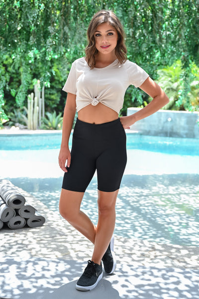 Marathon Not A Sprint Athletic Biker Shorts - Black womens casual workout shorts closet candy front; Model: Hannah Sluss