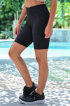 Marathon Not A Sprint Athletic Biker Shorts - Black womens casual workout shorts closet candy side; Model: Hannah Sluss