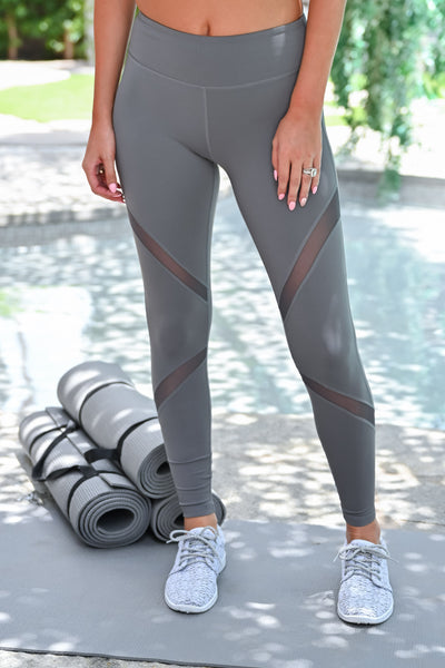 My Best Version Mesh Leggings - Grey womens casual athletic workout leggings closet candy front 2