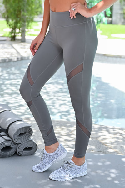 My Best Version Mesh Leggings - Grey womens casual athletic workout leggings closet candy front