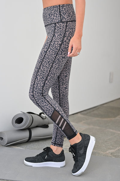 Wild Run Athletic Leggings - Leopard womens casual workout leggings leopard print closet candy side