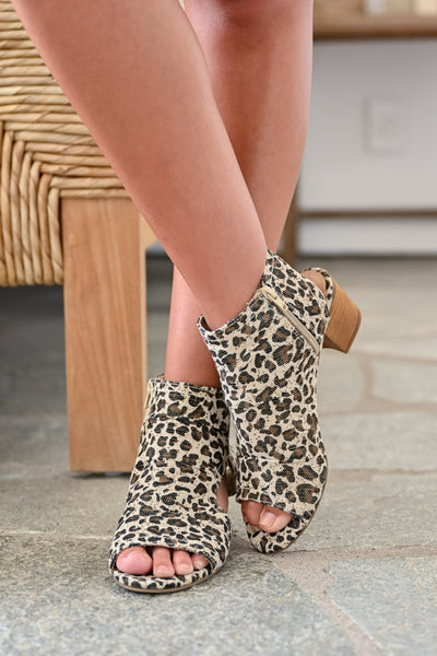 Brittany Peep Toe Booties - Leopard womens trendy zipper short leopard print bootie closet candy front
