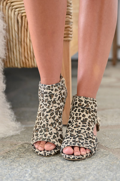 Brittany Peep Toe Booties - Leopard womens trendy zipper short leopard print bootie closet candy  front 2