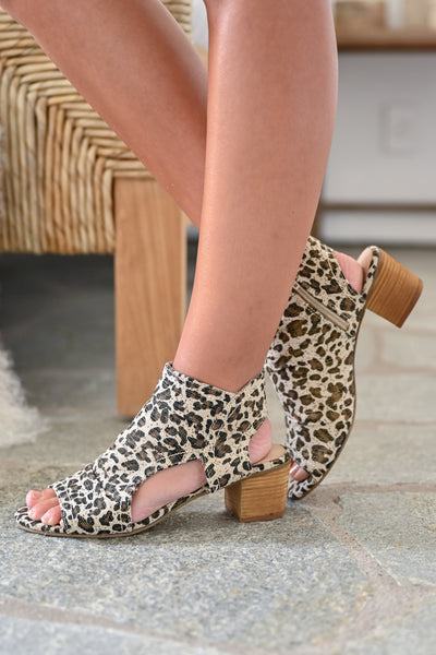 Brittany Peep Toe Booties - Leopard womens trendy zipper short leopard print bootie closet candy  side
