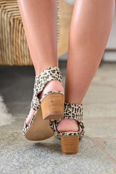 Brittany Peep Toe Booties - Leopard womens trendy zipper short leopard print bootie closet candy back