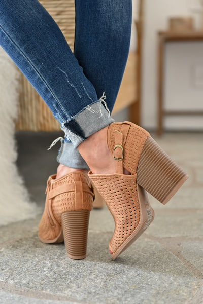 Melanie Peep Toe Booties - Camel womens trendy laser cut peep toe bootie closet candy back