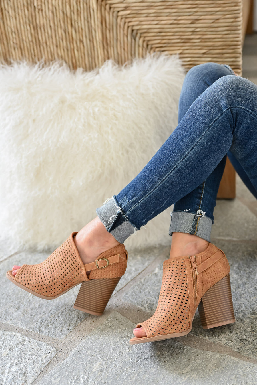 Melanie Peep Toe Booties - Camel womens trendy laser cut peep toe bootie closet candy side