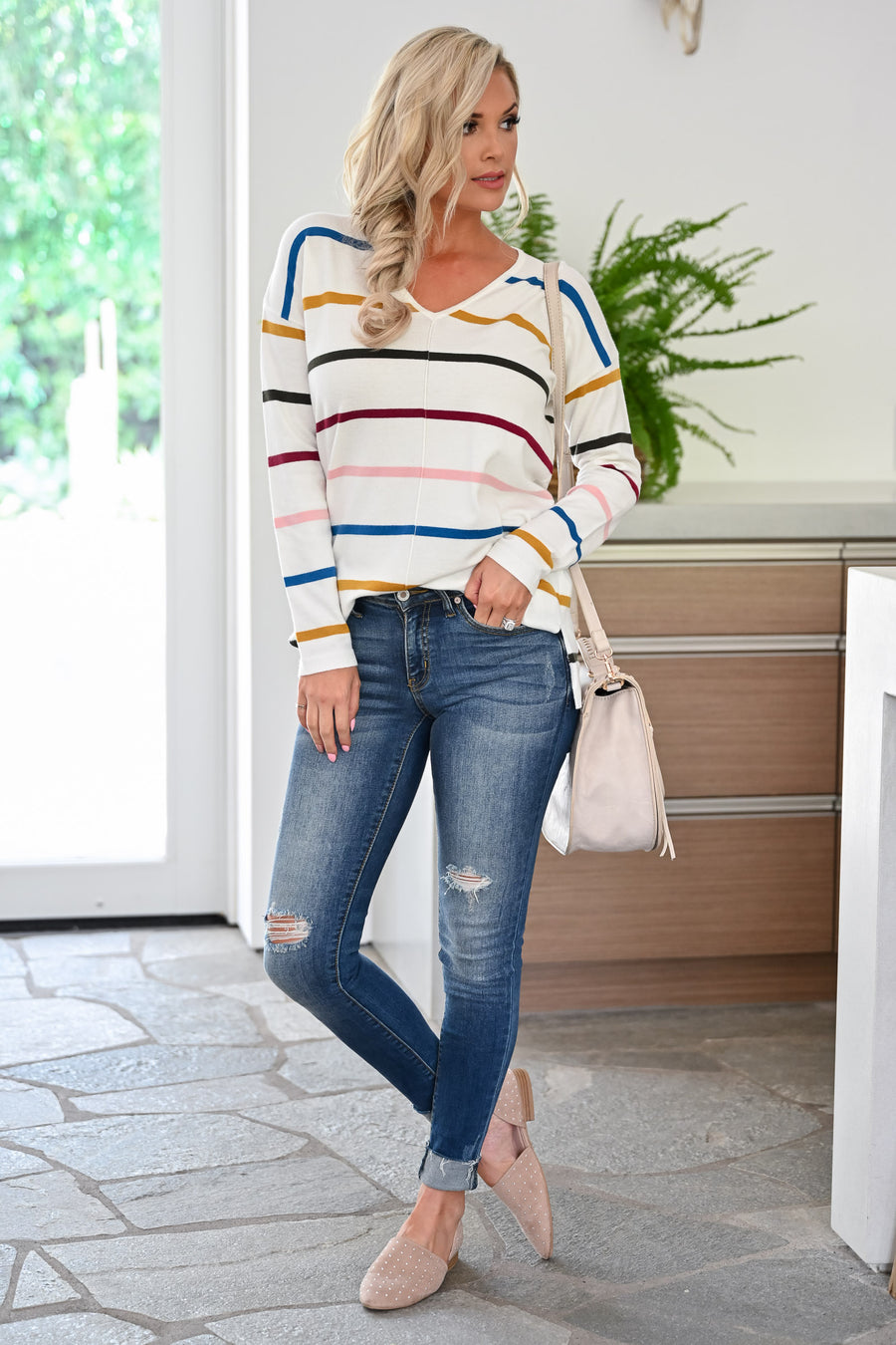 Here We Go Sweater - Ivory womens casual striped long sleeve vneck sweater closet candy front