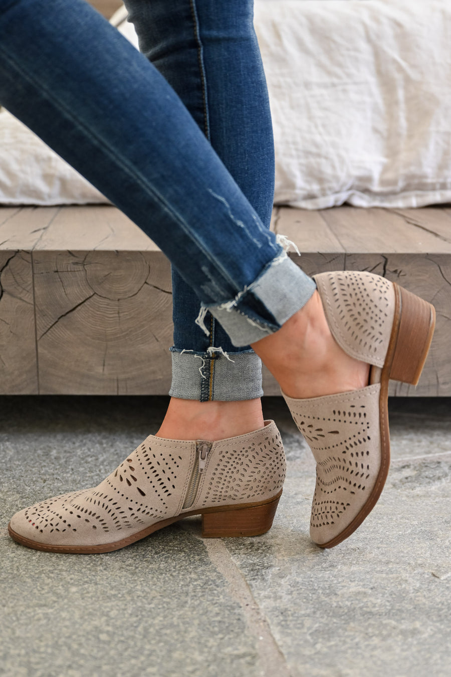 Chloe Booties - Taupe womens trendy laser cut ankle booties closet candy front