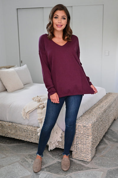 Passing Through Top - Wine womens casual V-neck long sleeve knit top closet candy front 2