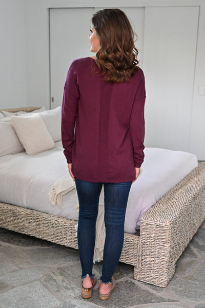 Passing Through Top - Wine womens casual V-neck long sleeve knit top closet candy back; Model: Hannah Sluss