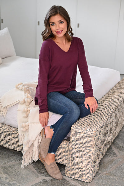 Passing Through Top - Wine womens casual V-neck long sleeve knit top closet candy sitting; Model: Hannah Sluss