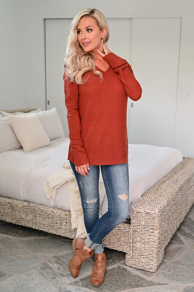 You and Me Top - Rust womens casual long sleeve waffle knit shirt closet candy side