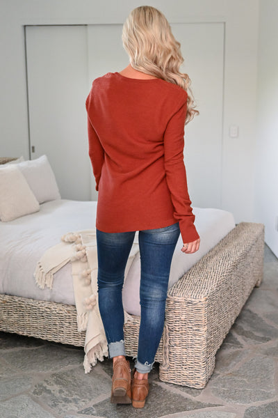 You and Me Top - Rust womens casual long sleeve waffle knit shirt closet candy back