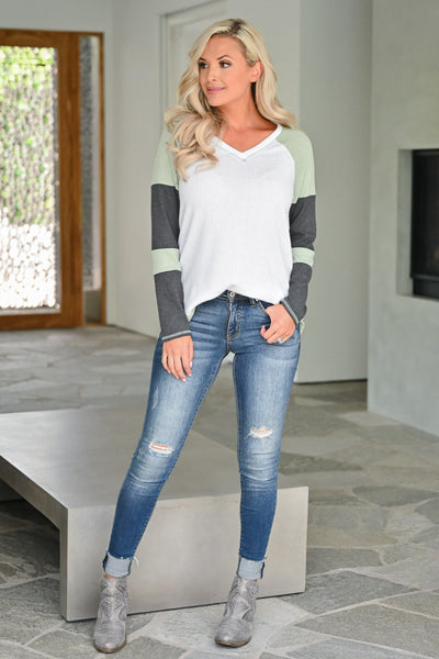 Until I See You Again Top - Sage womens casual waffle knit long sleeve color block sleeve top closet candy full