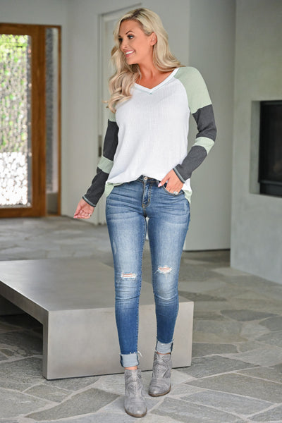Until I See You Again Top - Sage womens casual waffle knit long sleeve color block sleeve top closet candy front 2