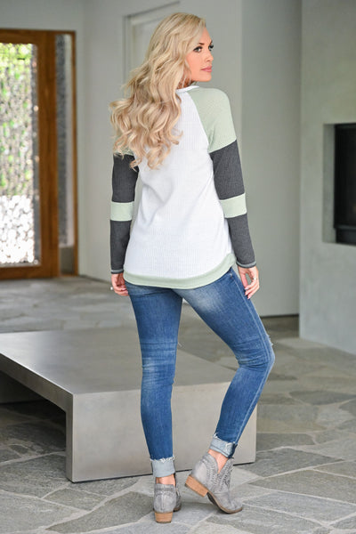 Until I See You Again Top - Sage womens casual waffle knit long sleeve color block sleeve top closet candy back