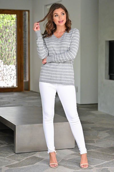 Change in the Wind Sweater Top - Heather Grey womens casual striped v-neck long sleeve top closet candy front 3
