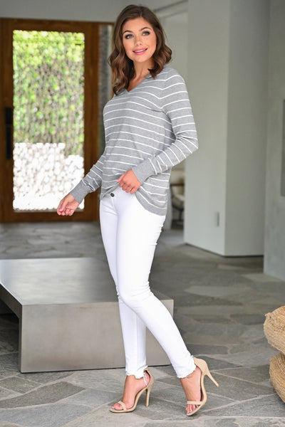 Change in the Wind Sweater Top - Heather Grey womens casual striped v-neck long sleeve top closet candy side