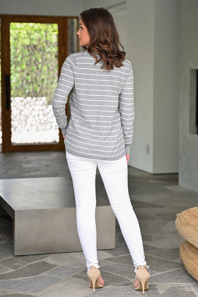 Change in the Wind Sweater Top - Heather Grey womens casual striped v-neck long sleeve top closet candy back