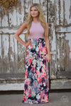 Among the Wildflowers Maxi Dress - blush pink floral maxi dress, front view, Closet Candy Boutique