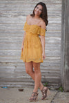 Closet Candy Boutique - cute mustard short dress, off the shoulder dress