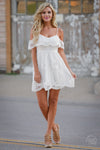 Waiting on Sunset Dress - white lace off the shoulder dress, front view, Closet Candy Boutique