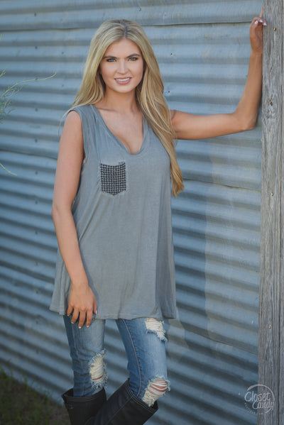 True Love Top - charcoal sleeveless pocket top, front, Closet Candy Boutique