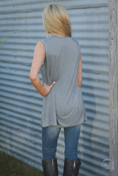 True Love Top - charcoal sleeveless pocket top, back, Closet Candy Boutique