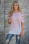 Loving You Is Easy Top - pink and white tie dye cold shoulder top, front, Closet Candy Boutique