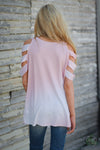 Loving You Is Easy Top - pink and white tie dye cold shoulder top, back, Closet Candy Boutique