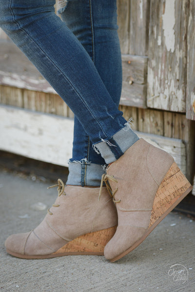 Closet Candy Boutique - cute canvas wedges, tan wedge heels, side