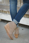 Closet Candy Boutique - cute canvas wedges, tan wedge heels, back